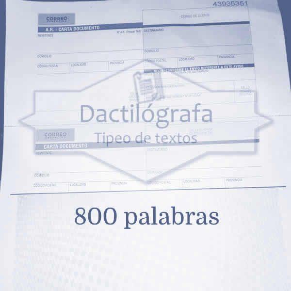 Carta documento hasta 800 palabras