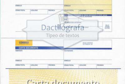 Plantilla Word de carta documento