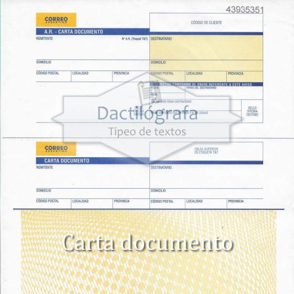 Plantilla Word de carta documento