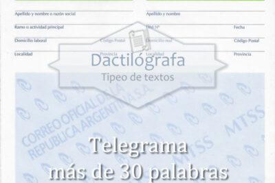 Plantilla Word de Telegrama, más de 30 palabras